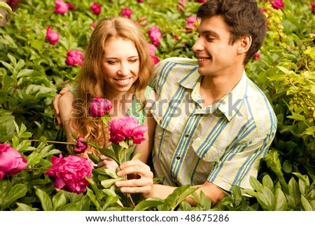 Portrait Young love Couple smiling