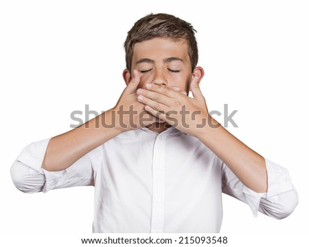 Portrait young man, student, boy, covering his mouth with hands won't talk. Speak no evil concept, isolated white background. Human emotions, face expressions, feelings, signs, surrounding perception - stock photo