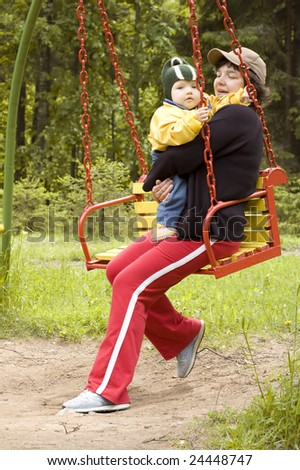 portrait - young mother and little child - stock photo