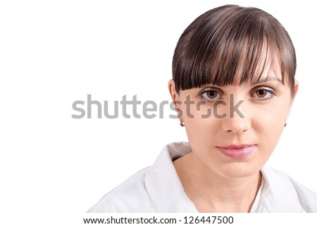 Portrait young nurse woman on the white background. - stock photo