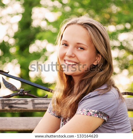 Portrait young teenager girl, dreaming on the nature
