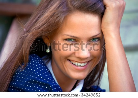PORTRAIT YOUNG WOMAN IN village - stock photo