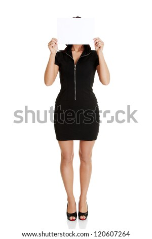 Portrait young woman with blank board , isolated on white - stock photo
