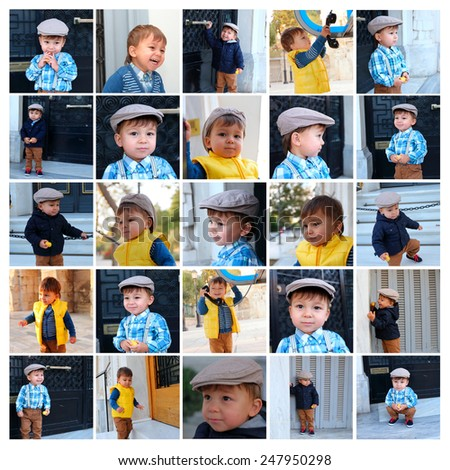 portraits collage of little boy - stock photo