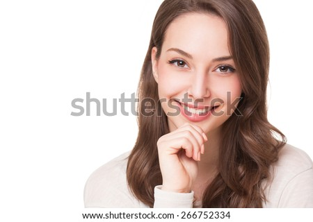 Portraits of a charming young expressive brunette beauty. - stock photo