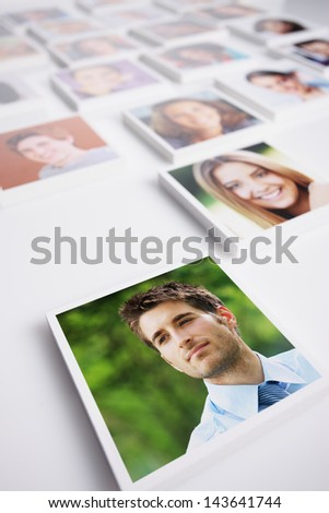 Portraits of a group of people, young business man on foreground - stock photo