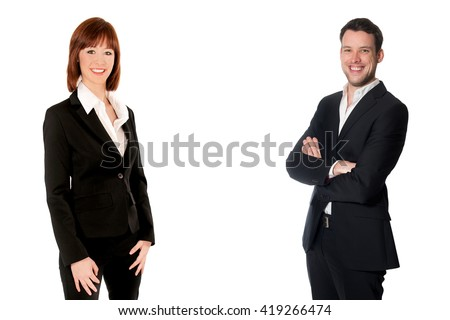 Portraits of an attractive business woman and business man, isolated on white studio background, photo with copy space in the center of the image - stock photo