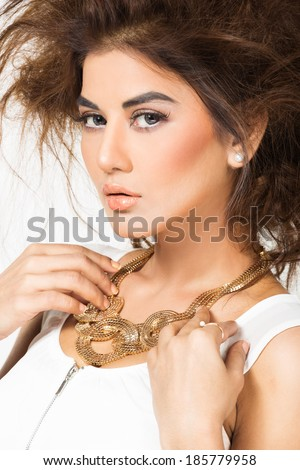 portraits of beautiful Indian female model, attractive Indian fashion model - stock photo