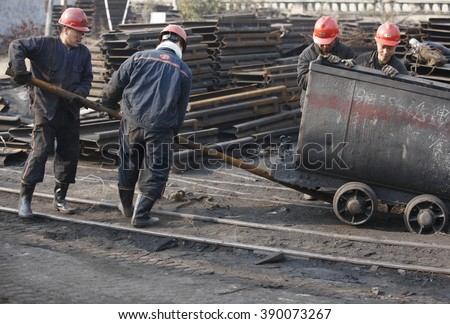 Portraits of Chinese coal miners at a coal in Huaibei, Anhui province, east China on 21th November 2015.