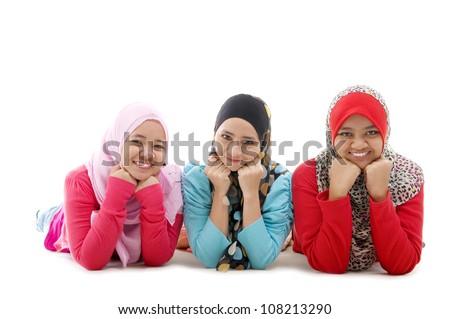portraits of muslim girls - stock photo