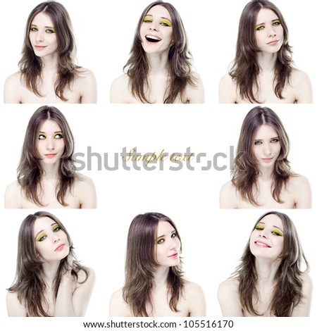 Portraits of of beautiful young girl with different emotions on a white background - stock photo