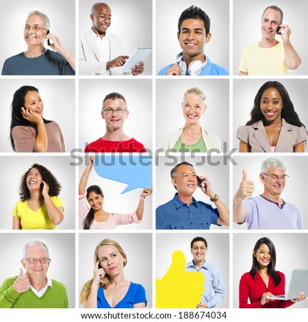 Portraits of People and Communication - stock photo