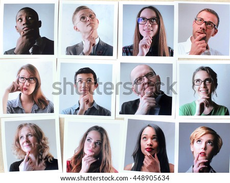 Portraits of people thinking - stock photo