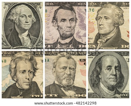 Portraits of six presidents with U.S. dollar bills