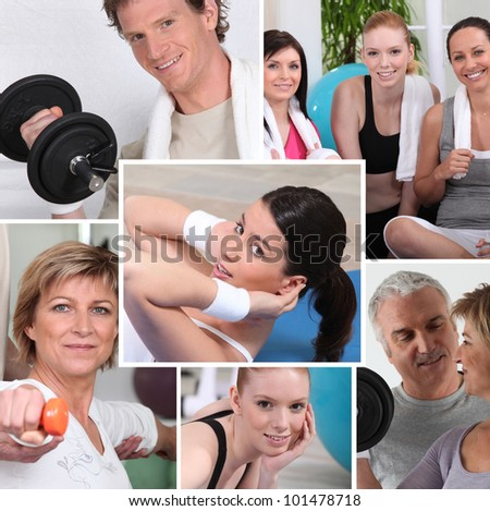 portraits of sporty people - stock photo