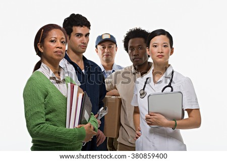 Portraits of teacher mechanic postman delivery man and nurse - stock photo