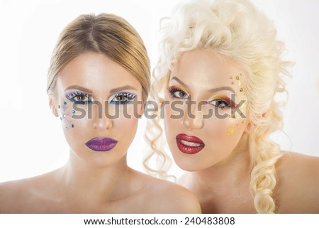 Portraits of women for winter makeup - stock photo