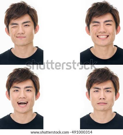 Portraits of young handsome man with different face expression