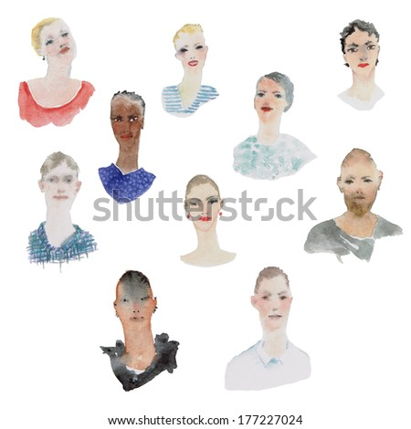 Portraits of young people in watercolor technique - stock photo
