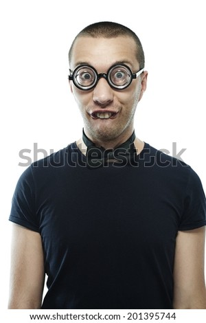 Portrat of young, fun nerd with glasses and bow tie - stock photo