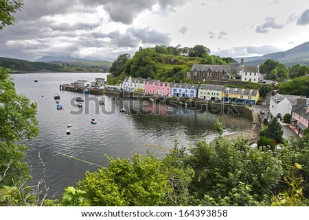 Portree harbour, Isle of Skye, Scotland. UK. - stock photo