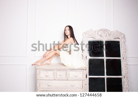 Portret of a young beautiful woman. - stock photo
