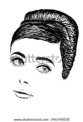 Portrit of beautiful retro woman. Copy space. - stock photo