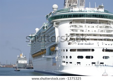 Portside View Worlds Biggest Cruise Ship Stock Photo - Port side of a cruise ship