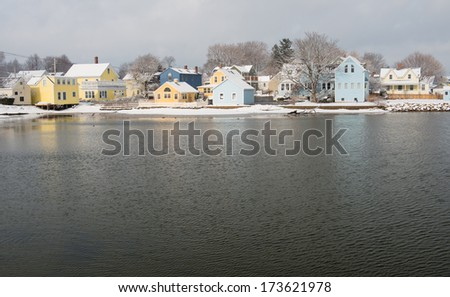 Portsmouth's charming South End after a Winter Storm, Portsmouth, New Hampshire, USA - stock photo