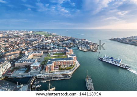 PORTSMOUTH, UK - MAR 19: Portsmouth, the UK's 2nd largest international port, on March 19, 2013. Over 3 millions passengers visit Portsmouth every year, making Portsmouth one of the famous port in UK. - stock photo