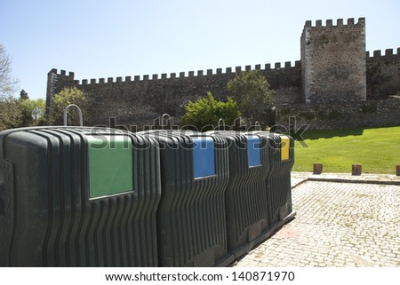 Portugal Alentejo Region Beja Historical center medieval castle and 'Torre de Menagem' - tower, with eco waist container - stock photo