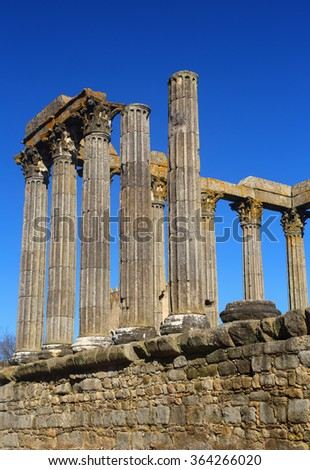 Portugal, Alentejo Region, Evora Historic centre. Granite stone columns of Temple of Diana - Roman remains UNESCO World Heritage site. - stock photo