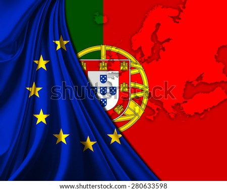 Portugal and European Union Flag with Europe map background - stock photo