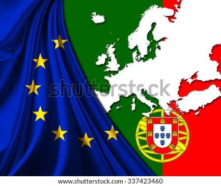 Portugal and European Union Flag with Europe map background