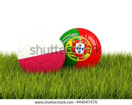 Portugal and Poland soccer  balls on grass. 3D illustration