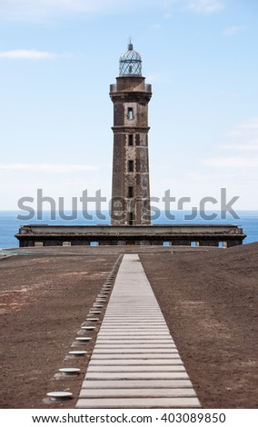 Portugal, Azores, Faial island, the old lighthouse. - stock photo