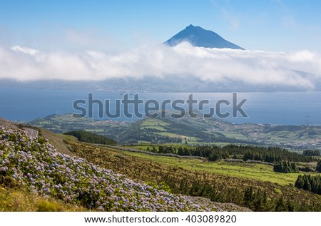 Portugal, Azores. View of the island Pico island Faial, - stock photo