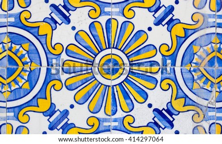 portugal azulejos tiles closeup - stock photo