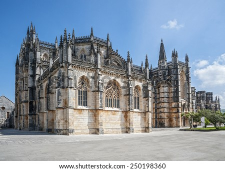 Portugal, Batalha. Monastery of Santa Maria da Vitoria , better known to us as da Batalha Monastery,  one of the most beautiful works of Portuguese and European architecture.  - stock photo