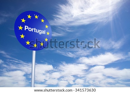 Portugal Border Sign with clouds sky. 3D Rendering - stock photo