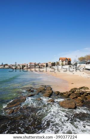 Portugal, Cascais, beach in resort coastal town by the Atlantic Ocean, popular vacation destination near Lisbon - stock photo