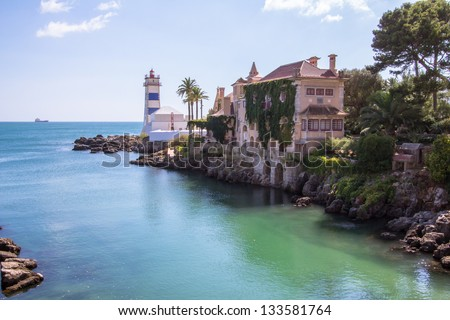 "Portugal, Cascais, Estoril on Lisbon's Sunshine coast - Historical fortified ""Baronial"" ; mansion overlooking the beach"