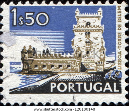 "PORTUGAL - CIRCA 1972: A stamp printed in Portugal from the ""Cities and landscapes"" issue shows Belem Tower, Lisbon ,circa 1972."