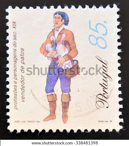 PORTUGAL - CIRCA 1998: a stamp printed in Portugal shows Duck and Eggs Vendor, 19th Century Profession, circa 1998 - stock photo