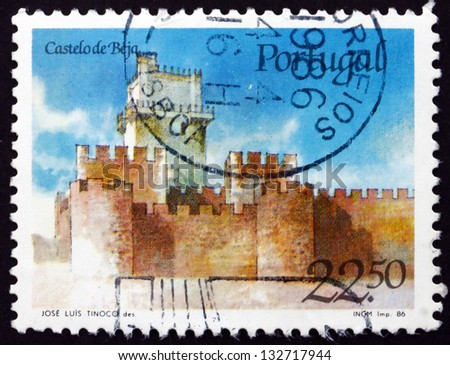 PORTUGAL - CIRCA 1986: a stamp printed in the Portugal shows Beja Castle, Alentejo Region, Portugal, circa 1986 - stock photo
