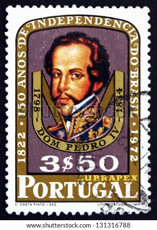 PORTUGAL - CIRCA 1972: a stamp printed in the Portugal shows Dom Pedro I, Emperor of Brazil, King of Portugal, 150th Anniversary of Brazilian Independence, circa 1972 - stock photo