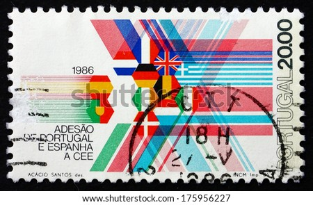 PORTUGAL - CIRCA 1986: a stamp printed in the Portugal shows Flags of EEC Member Nations, Admission of Portugal and Spain to the EEC, circa 1986