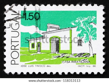 PORTUGAL - CIRCA 1988: a stamp printed in the Portugal shows House, Ribatejo, Traditional Architecture, circa 1988