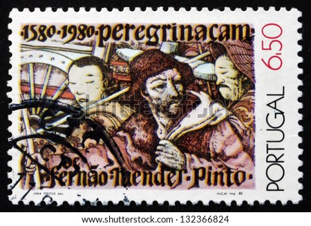 PORTUGAL - CIRCA 1980: a stamp printed in the Portugal shows Mendes Pinto and Chinese Men, Peregrinacao by Fernao Mendes Pinto, written in 1580, circa 1980 - stock photo