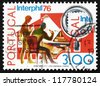 PORTUGAL - CIRCA 1974: a stamp printed in the Portugal shows Stamp Collectors, Interphil 76, International Philatelic Exhibition, Philadelphia, circa 1974 - stock photo